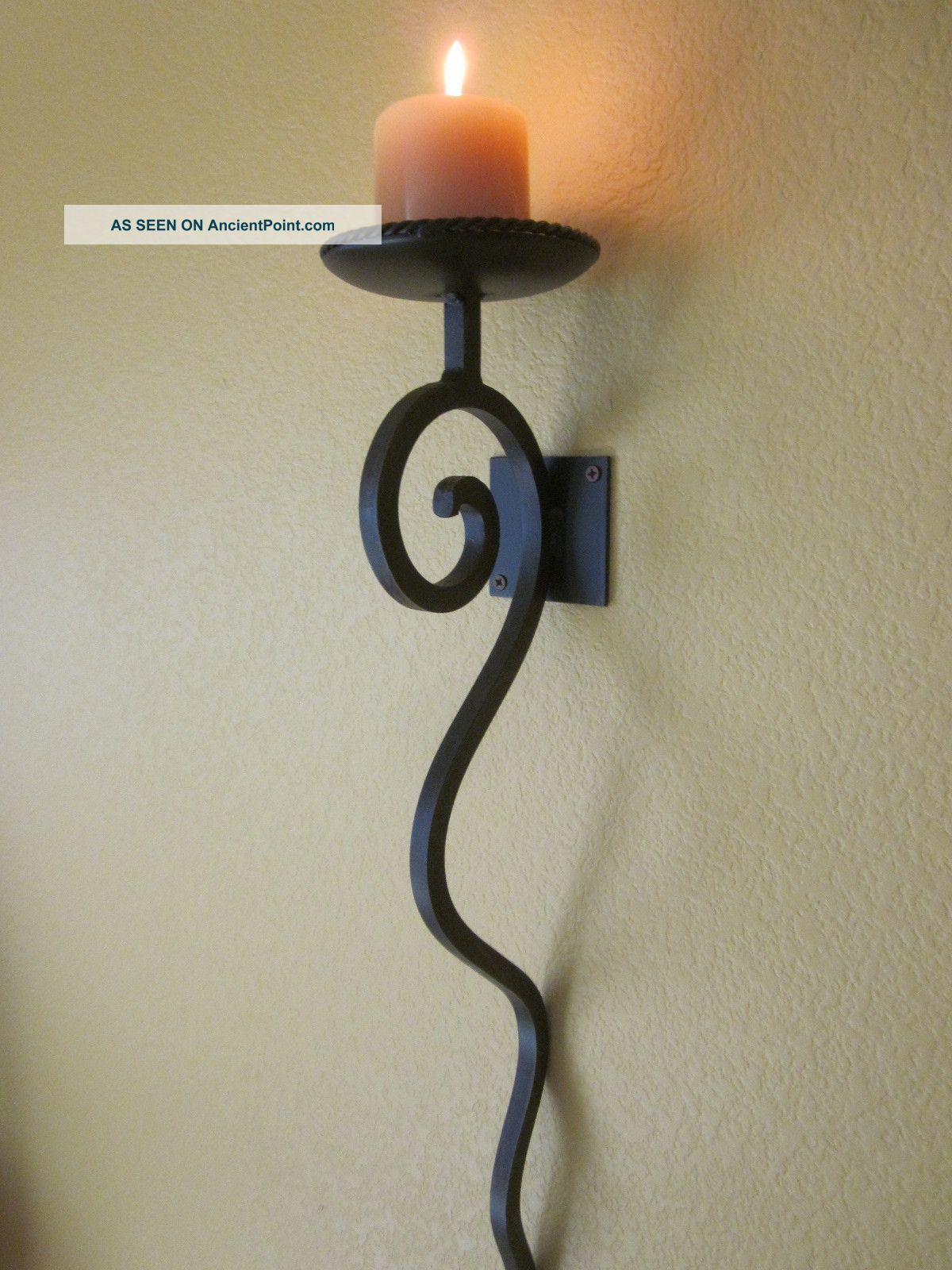 Candle Wall Sconces | Tuscan Candle Wall Sconce   Hand Forged Iron, Antique  Brown Finish, 24 .
