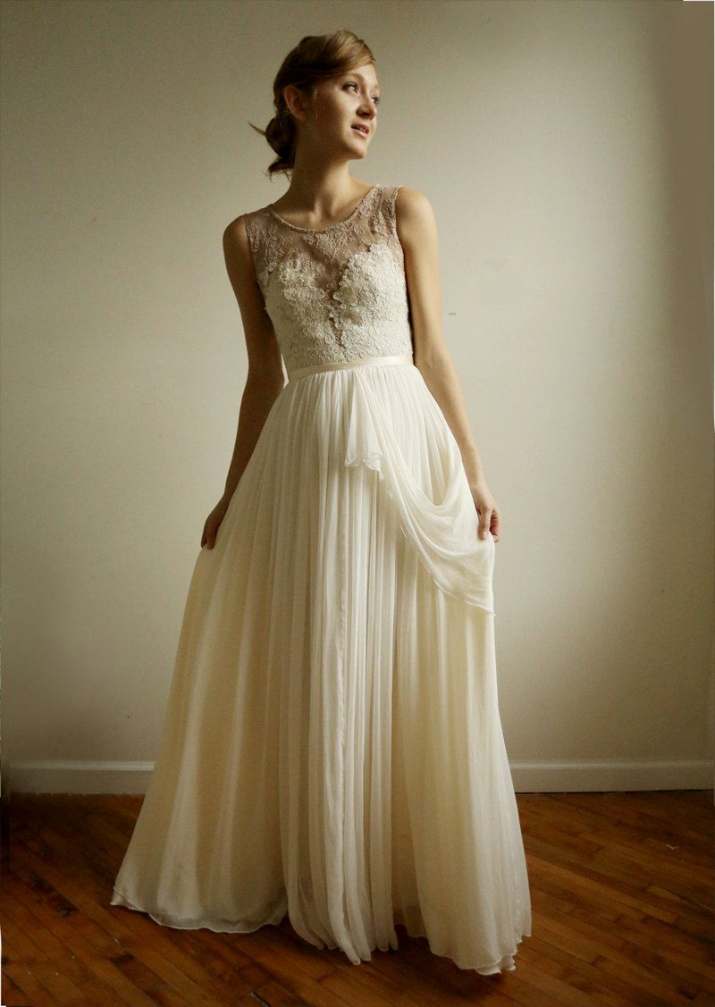 Absolutely adore the skirt white pinterest chiffon gown vintage lace ombrellifo Image collections