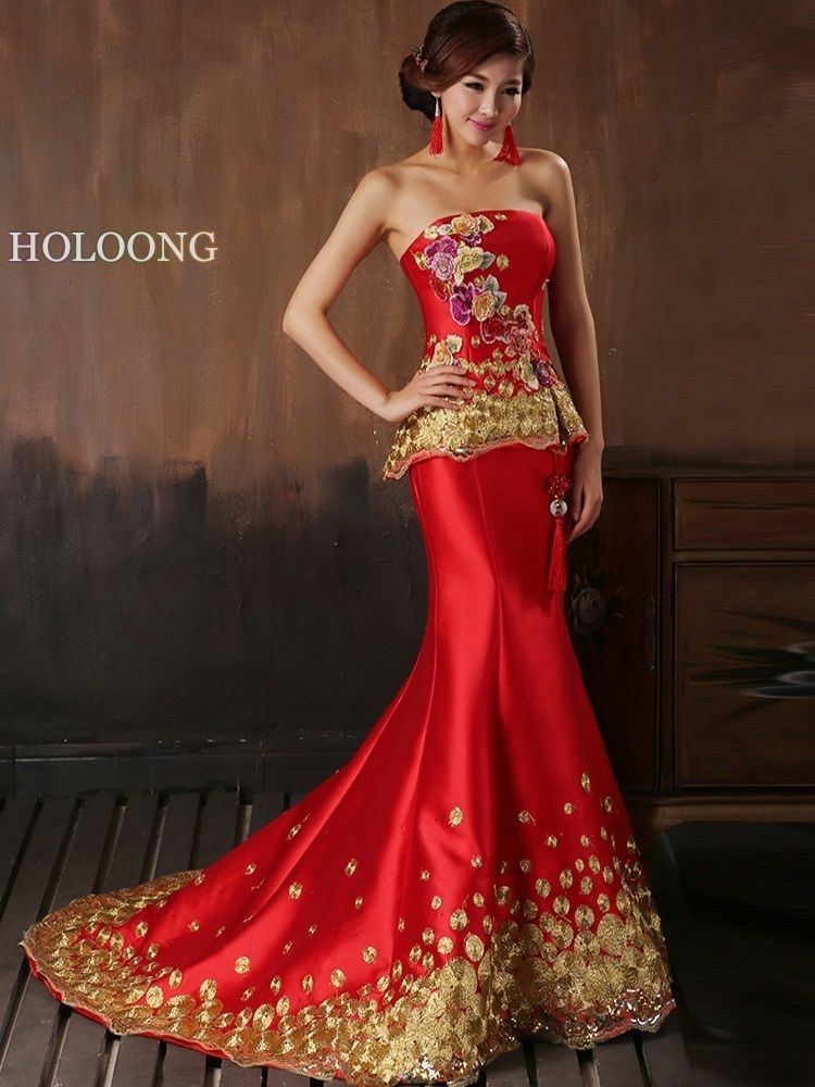 Evening Dress Elegant Sleeveless Long Strapless Chinese Red Wedding