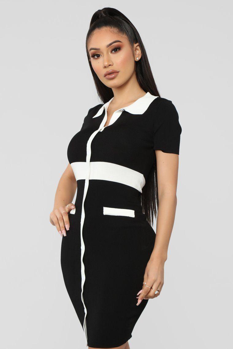 78e6b921f2 Smarter Than I Look Sweater Dress - Black White