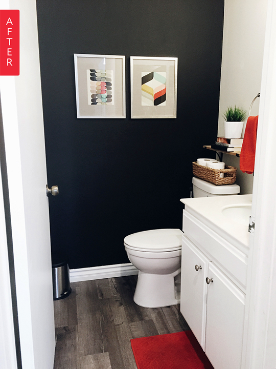 Before After Adding Character Through Color Small Bathroom Paint Small Bathroom Paint Colors Room Makeover