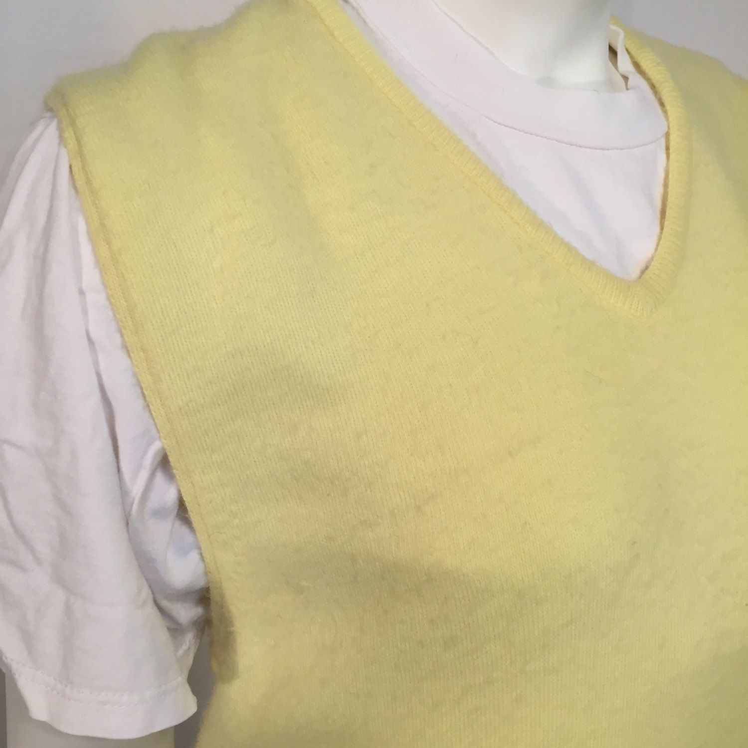 Vintage Puritan Yellow Knit V Neck Sweater Vest L Large 70s ...