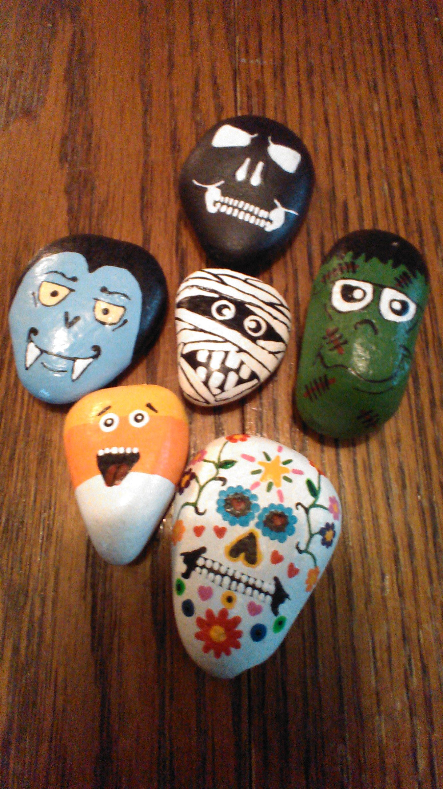 Halloween collection, river rocks painted with acrylic