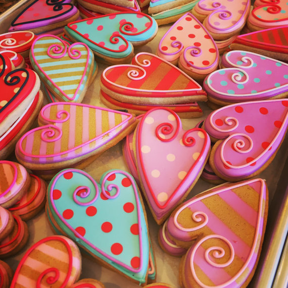 valentine's day decorated sugar cookies-1 dozenannpotterbaking, Ideas