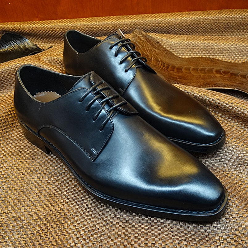 299.90$  Buy now - http://ali7rq.worldwells.pw/go.php?t=32682923973 - LA11 Newest Custom Made Italy Goodyear Handmade Flat Shoes Men's Black Leather Square Toe Lace up Dress Wedding Prom Oxfords