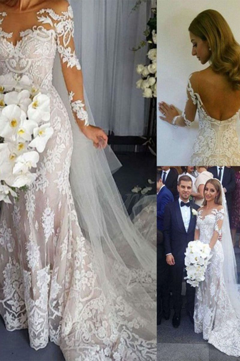 Mermaid scoop long sleeves lace wedding dress with appliques beading