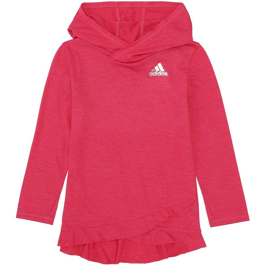 e696e6a67fe0 Girls 7-16 Adidas Climalite Ruffled Melange Hoodie