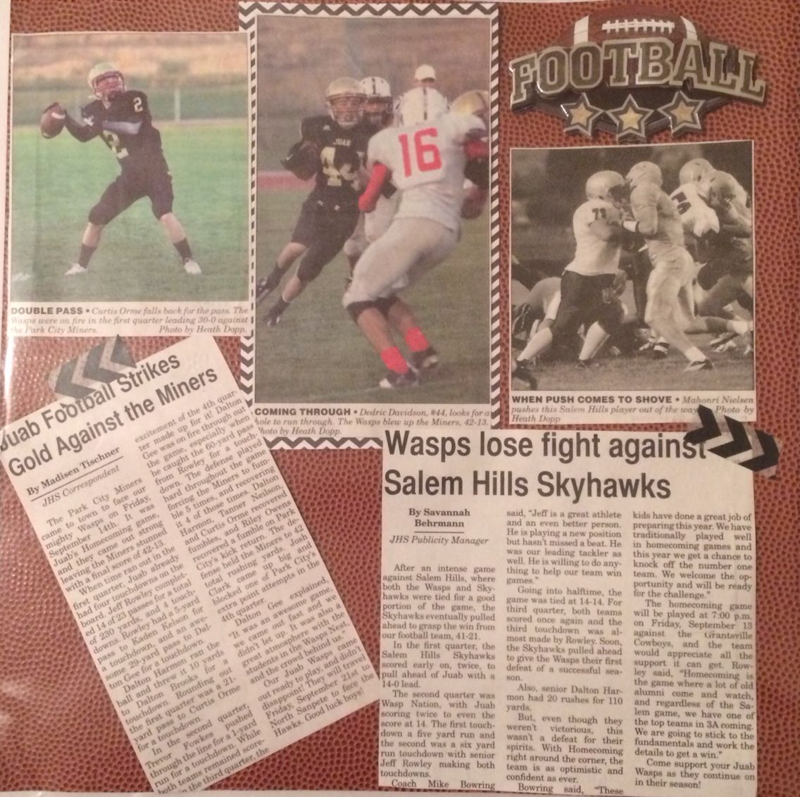 How to scrapbook newspaper clippings - Sports Scrapbook Scrapbook With Newspaper Clippings Football Scrapbook Layouts
