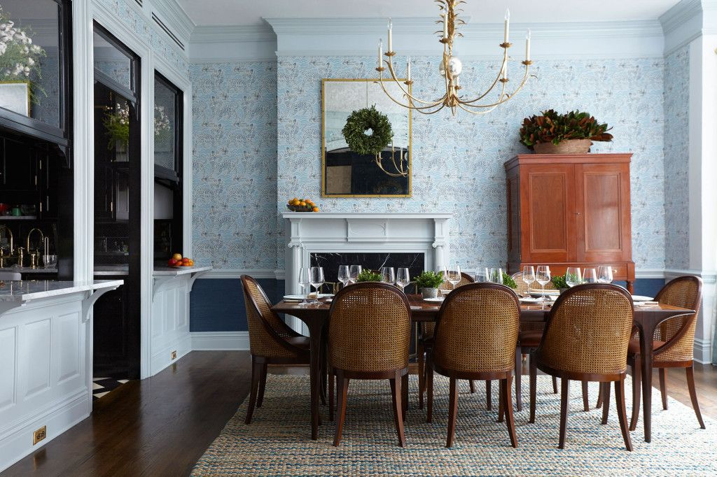 A Perfectly Patterned Brooklyn Heights Home For The Ages Blue Wallpaper In Dining Room Interesting Dark Block Colour On Bottom Half