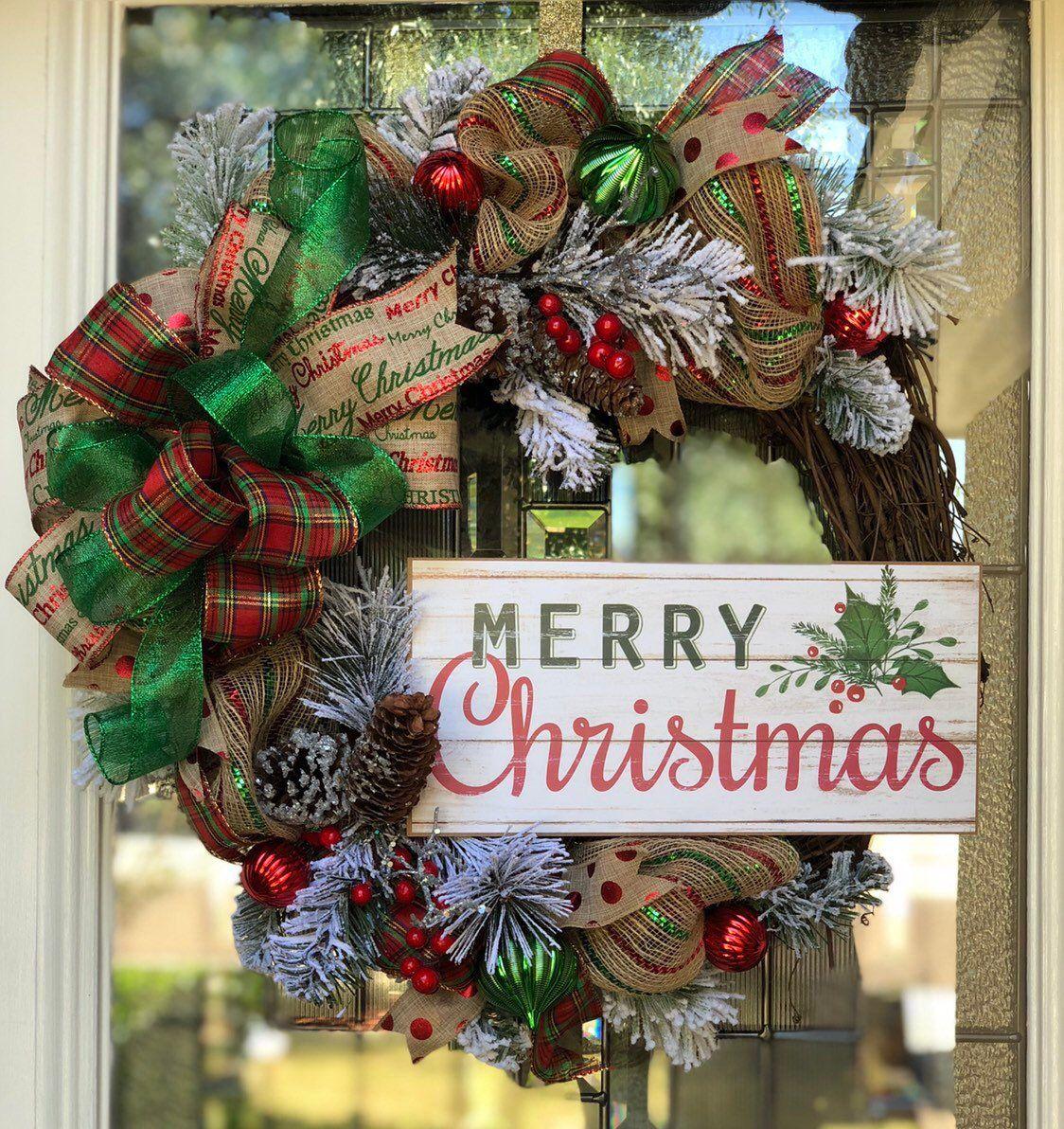 Farmhouse Christmas wreath Rustic Christmas wreaths