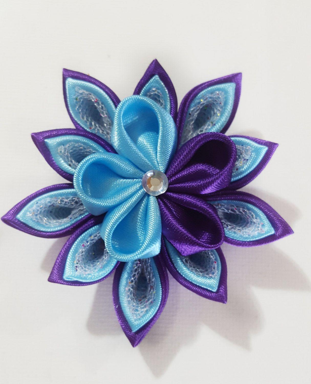 Kanzashi Flower Purple And Blue Hair Clip Purple Flower Clip