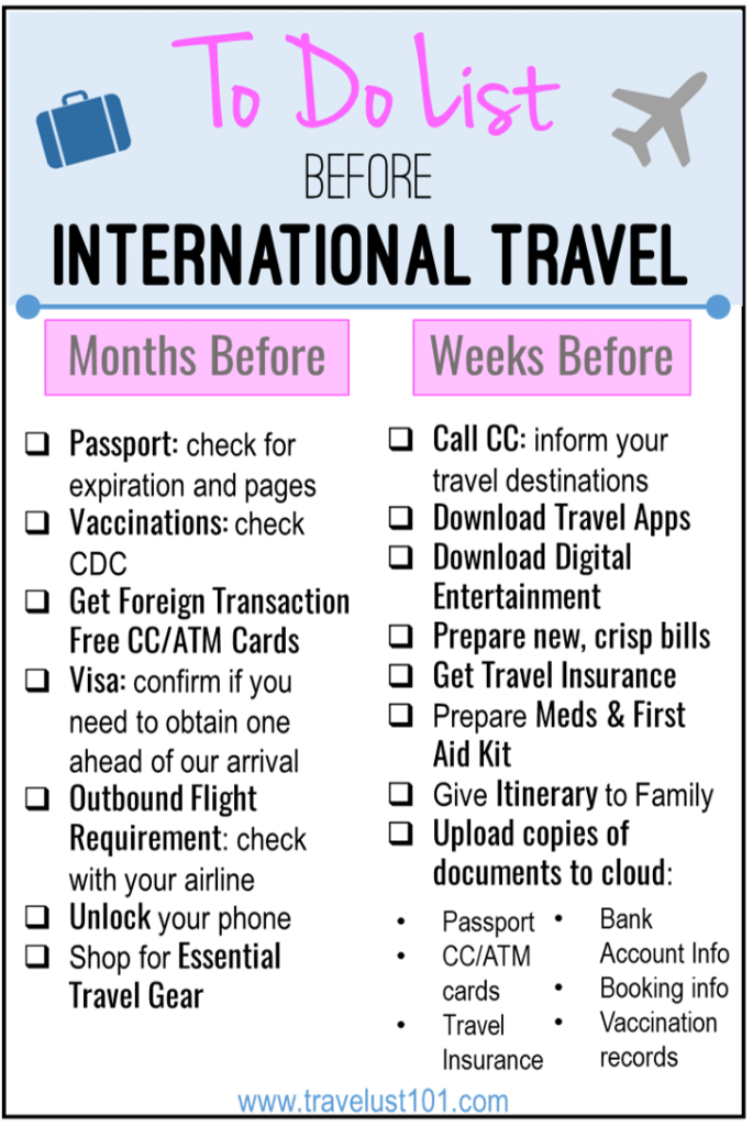 International Travel Checklist 17 Things to Do Before Departure is part of International Travel Checklist  Things To Do Before Departure - If you are planning a trip abroad, make sure you read and download this International Travel Checklist so that your trip goes without a hitch!
