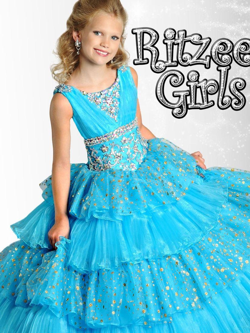 Ritzee girls tangerine orange pageant gown pageantdesigns