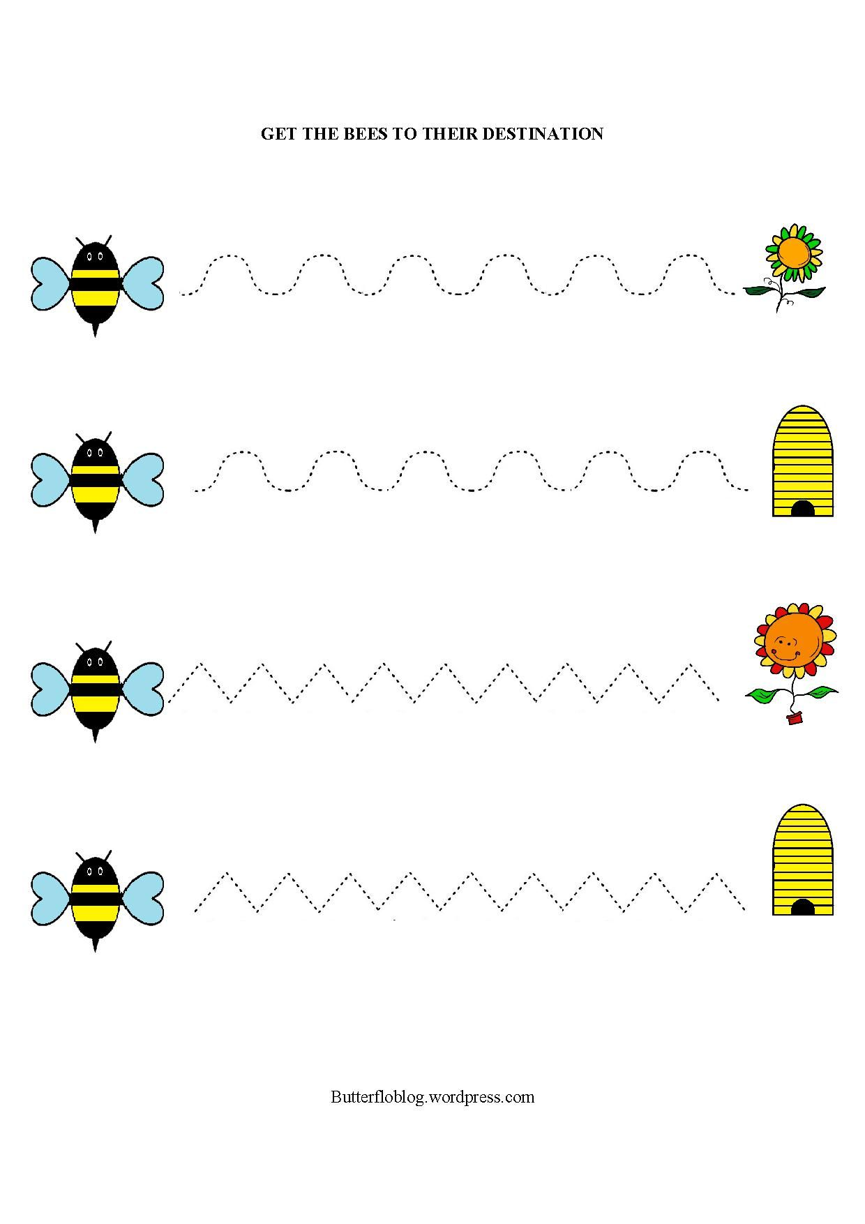 Getting From A To Bee Pre Writing Worksheets For Kids Bee [ 1754 x 1240 Pixel ]
