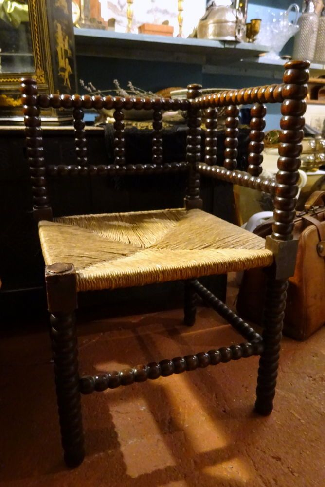 Arts & Crafts Bobbin Turned Low Corner Chair Victorian Hall Bedroom Chair
