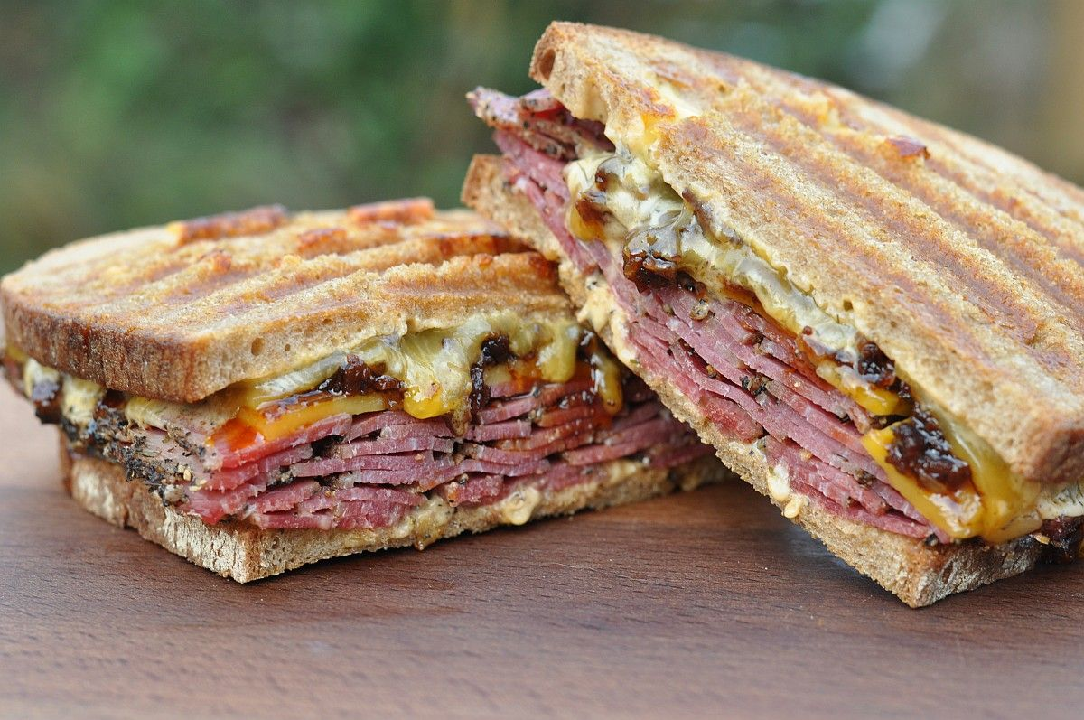 Photo of The Pastrami Bacon Jam Sandwich with Cheddar is after the re …