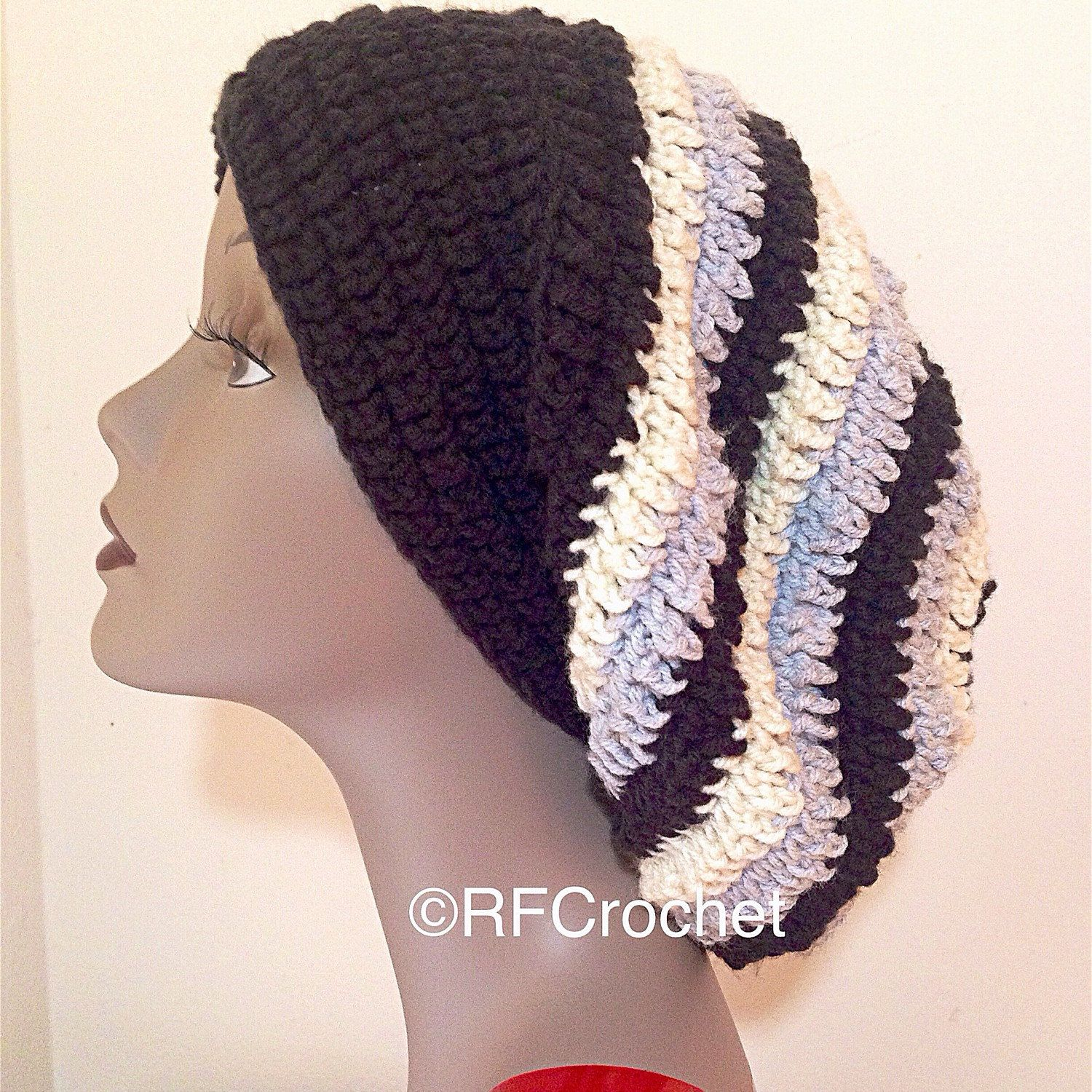 f7f3ec1dc XL Slouchy Beanie in Black, Off White and Light Gray | Free USA ...
