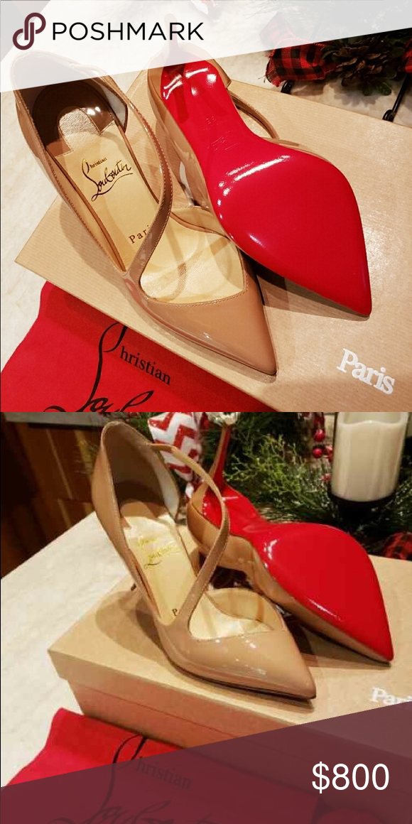 601b7d6c449 Christian Louboutin Beige Patent Leather New Authentic Christian ...
