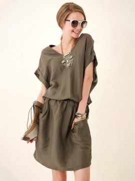 Army Green V-neck Elastic Waist Loose Casual Dress with Short Sleeves