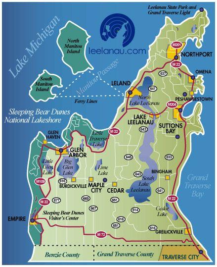 Leelanau County Map Michigan Pinterest Leland Michigan Lake