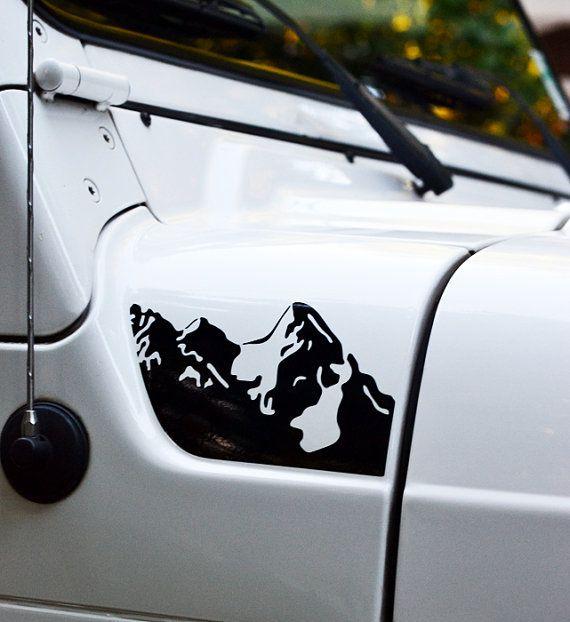 Jeep Wrangler Tj Hood Mountains Decal 2pc Set Hoods