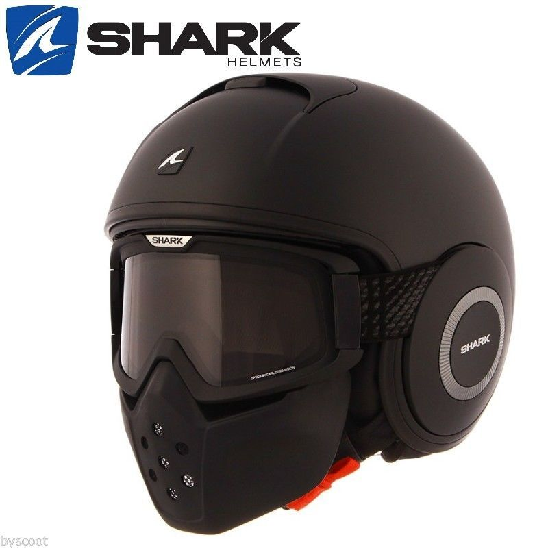 casque shark raw blank mat noir jet moto scooter aviateur arm e cod neuf helmet ebay. Black Bedroom Furniture Sets. Home Design Ideas