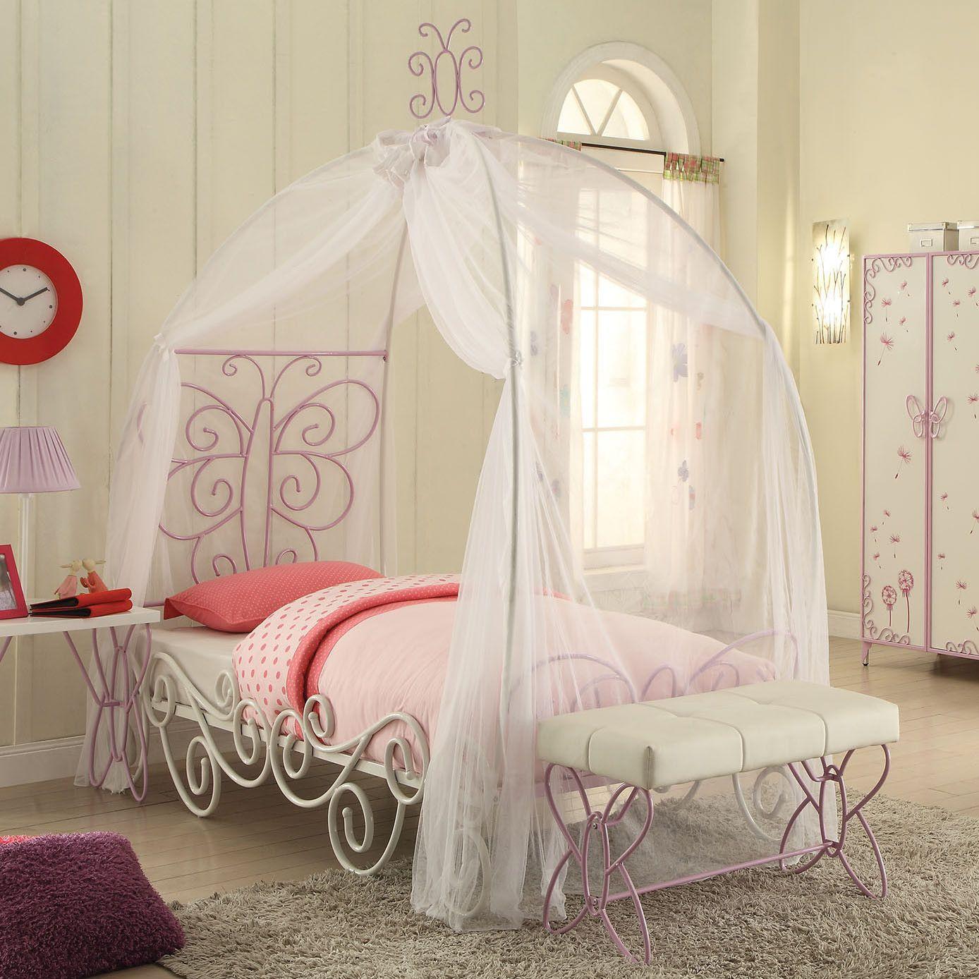 Acme Priya II Twin Bed w/ Canopy White & Light Purple