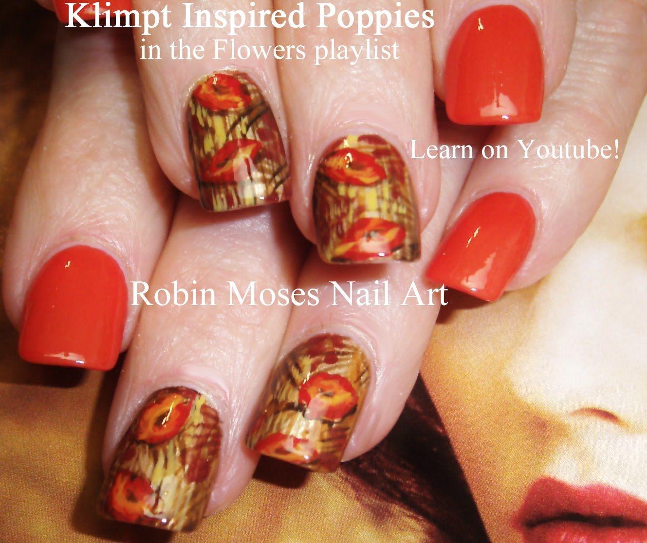 2 Nail Art Tutorials - DIY Easy Orange Accent Poppy Flower Nails ...