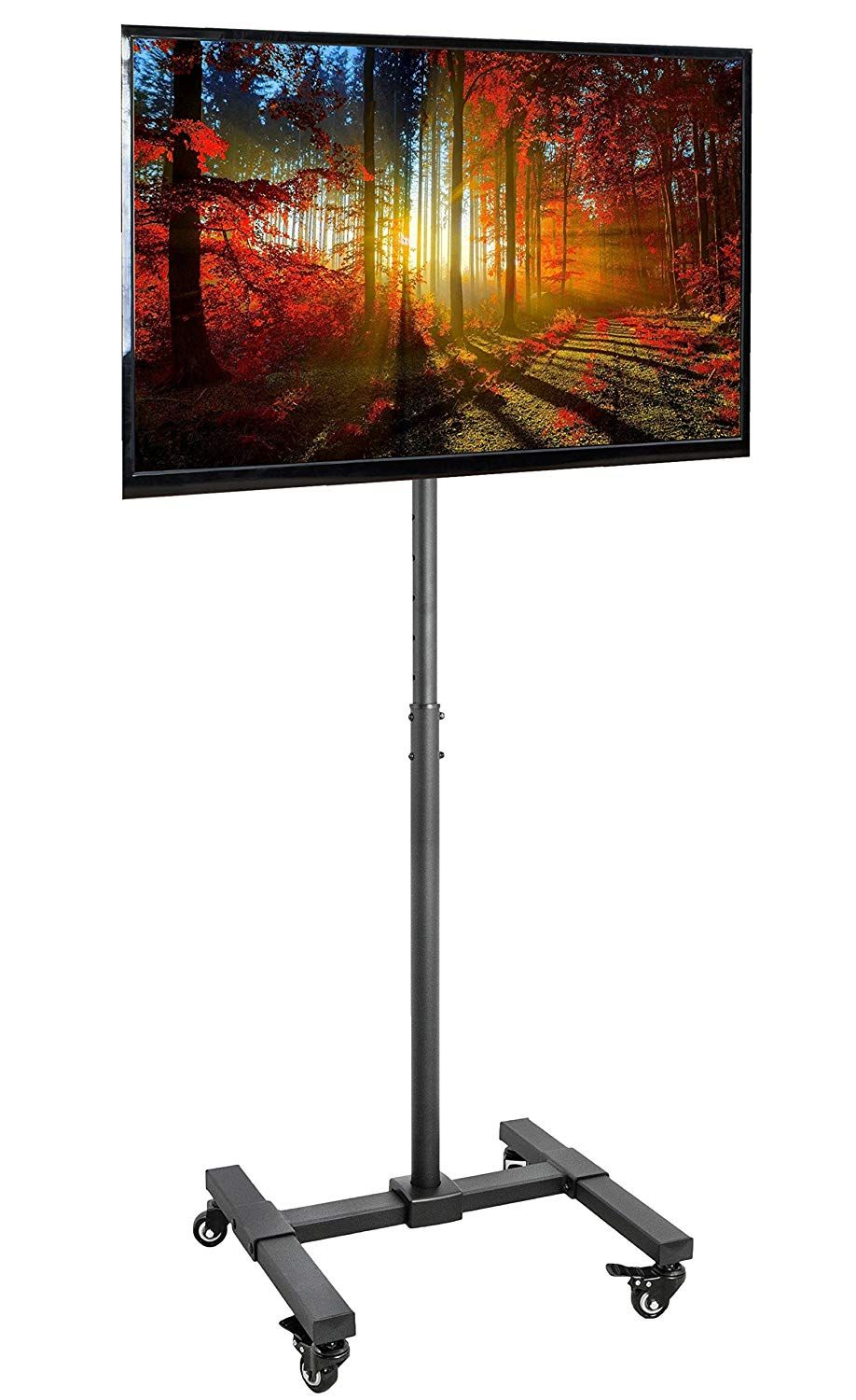 Vivo Mobile Tv Display Floor Stand Height Adjustable Mount W Wheels For Flat Panel Led Lcd Plasma Screen 13 To 42