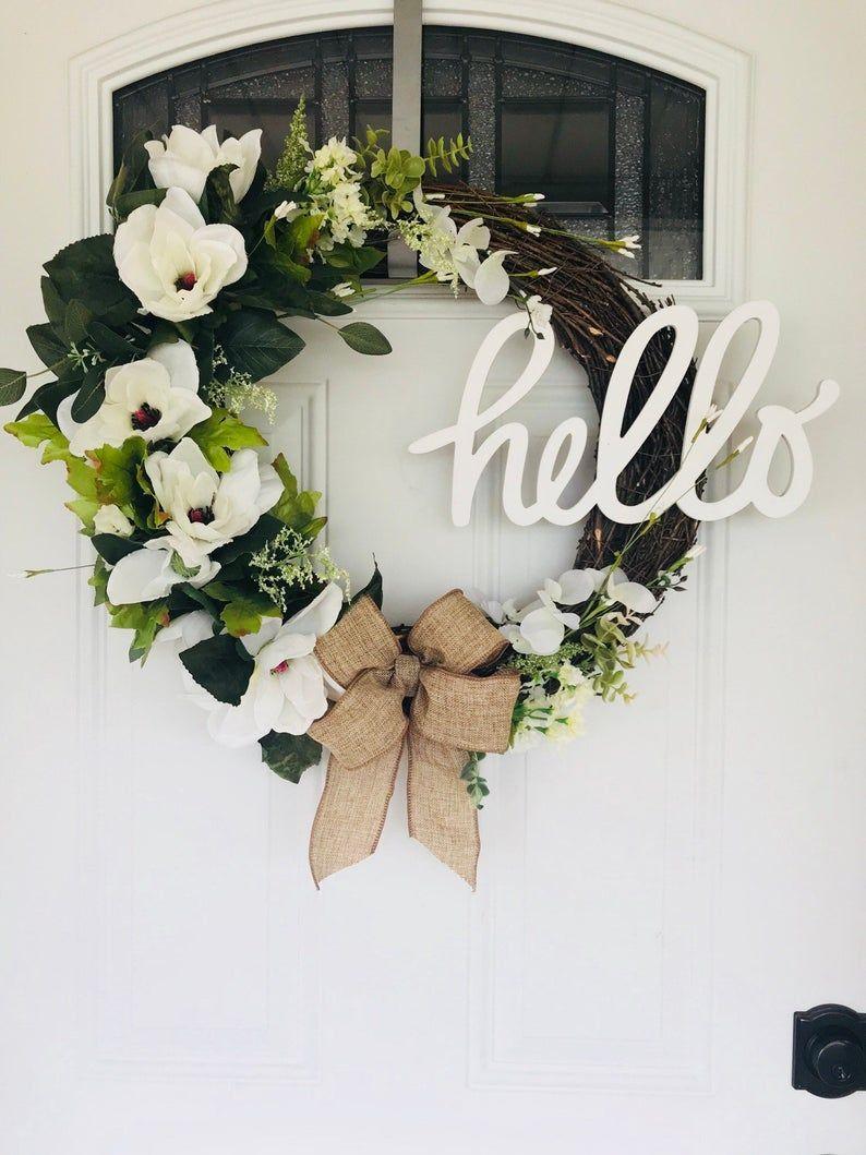 Photo of Spring wreath, magnolia wreath, grapevine wreath, peasant wreath, hello wreath, flower wreath