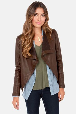 BB Dakota Jasper Brown Vegan Leather Jacket | Vegan leather jacket ...