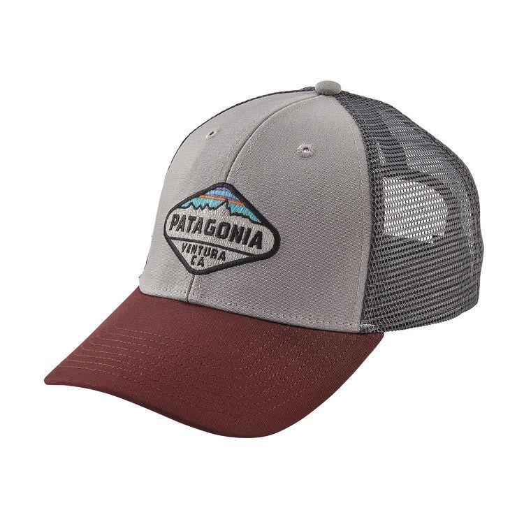 aa44cc2296f Patagonia Fitz Roy Crest LoPro Trucker Hat - Drifter Grey w Dark Ruby