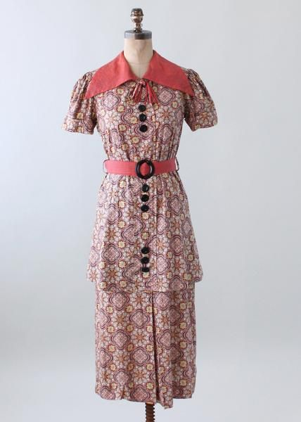 Vintage Mid 1930s Floral Cotton Day Dress With Peplum Glamourin