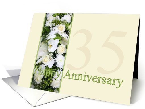 35th Wedding Anniversary White mixed bouquet card