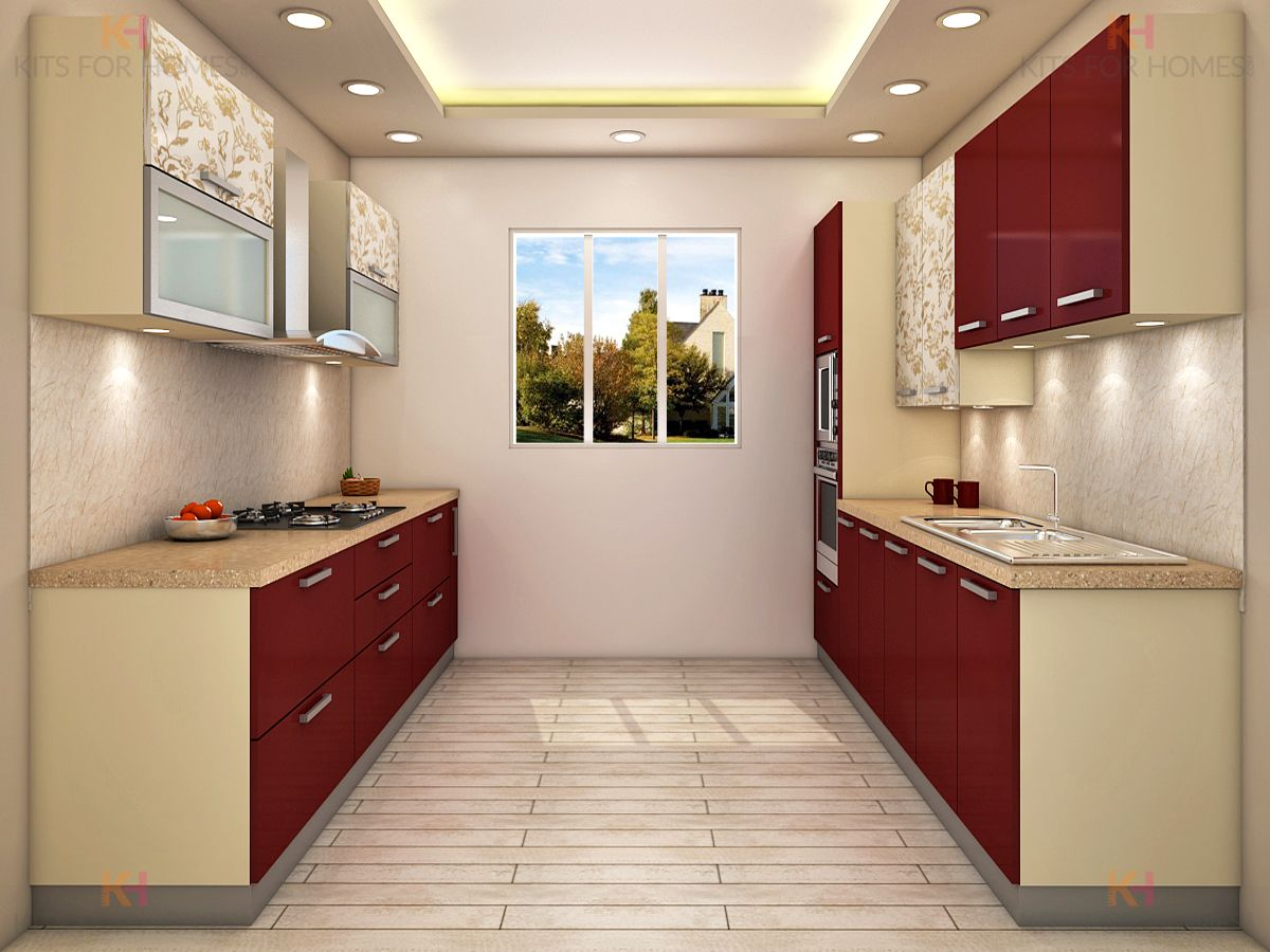 Parallel shaped kitchen kitchen cabinets modern kitchen for Kitchen interior design india