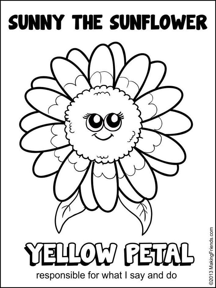 Coloring Sheet Sunny Girl Scout Daisy Activities Girl Scout