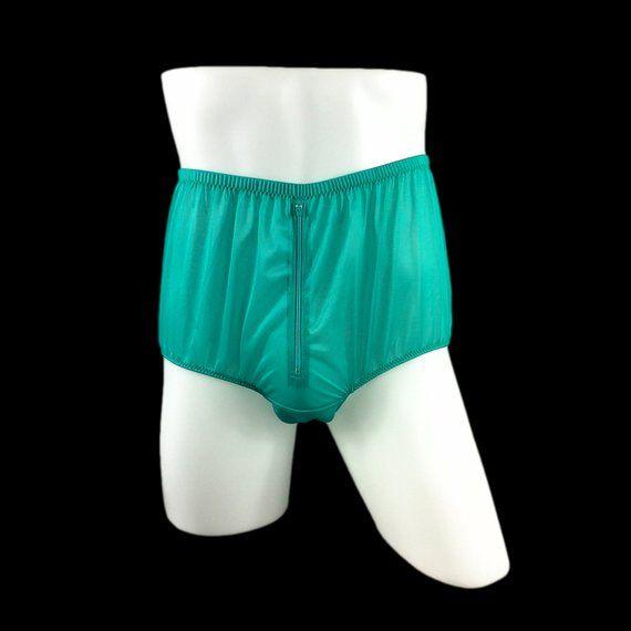 d06a31008d2ca6 Split Panty Briefs Panties Nylon Gusset Zip Men Underwear Zipper Knicker  Sexy Women Undies Green