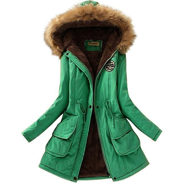 c0f02ae56a18a Aonibeier Parkas Women Coats Fashion Autumn Warm Winter Jackets Women Fur  Collar Long Parka Plus Size Hoodies Cotton Outwear