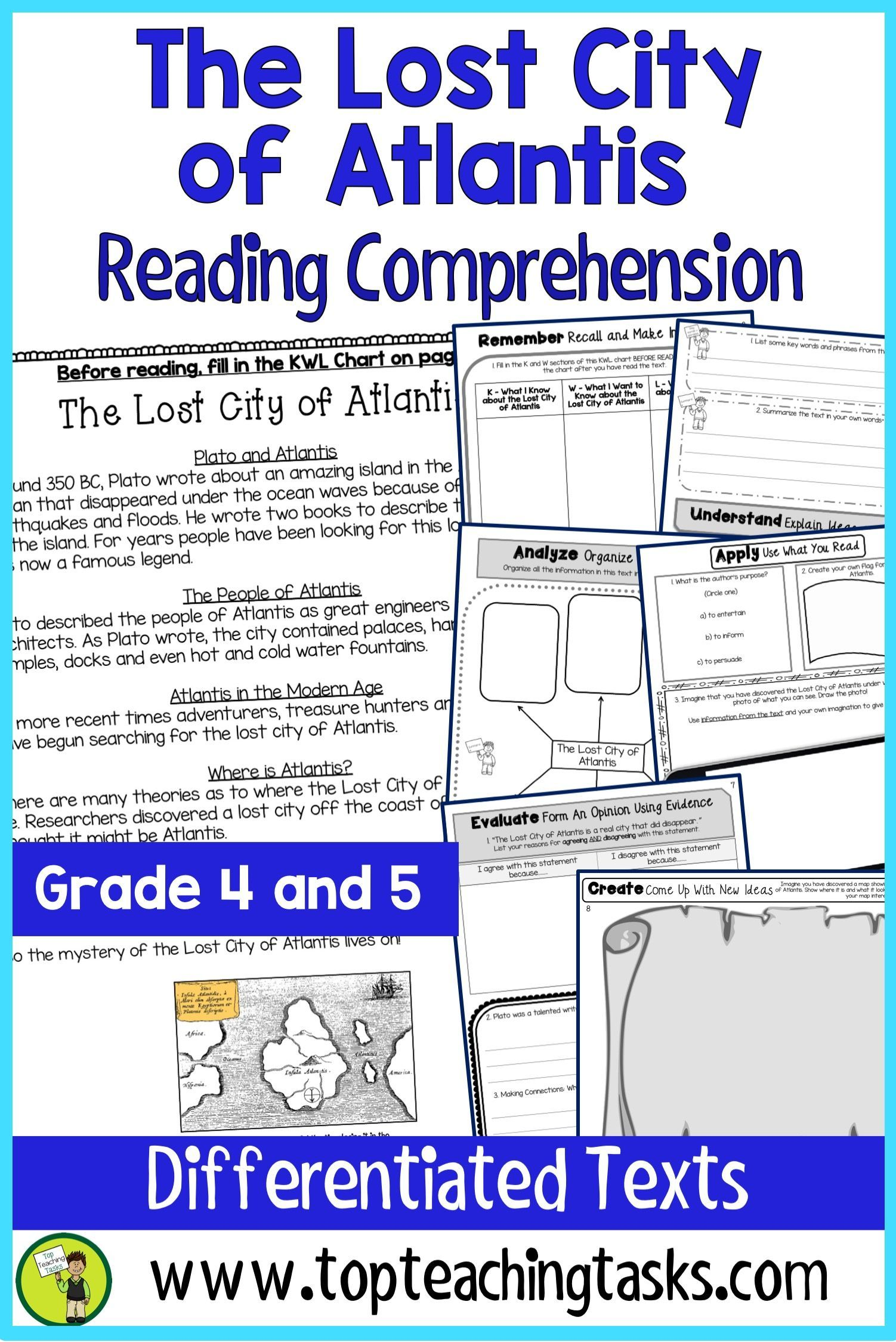 the lost city of atlantis reading comprehension passages and
