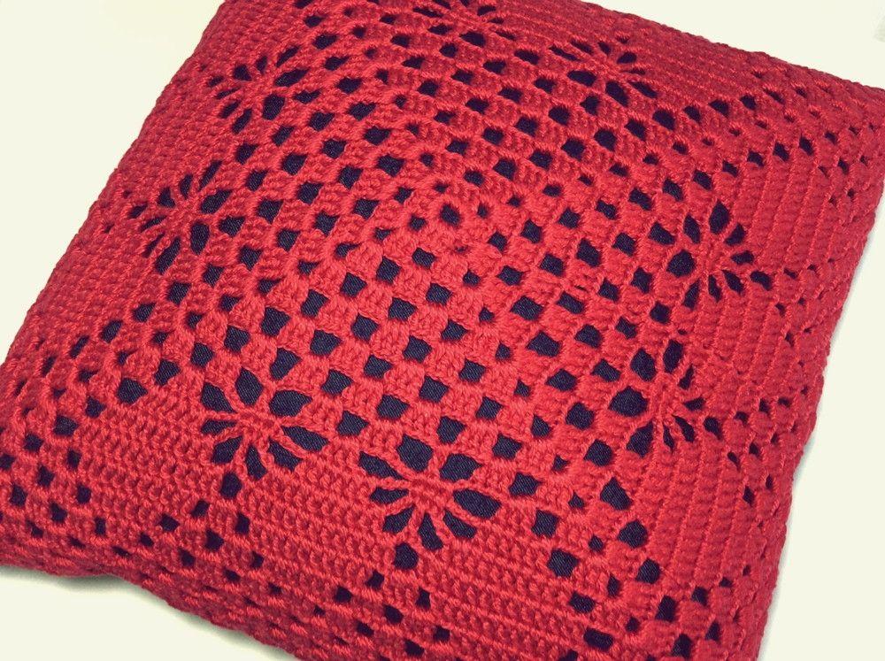 Almofada Croche Vermelha 40x40cm Capa De Crochet De