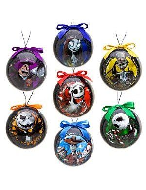 4bbbb6d31bd0f Disney Tim Burton s The Nightmare Before Christmas Decoupage Ornament Set  -- 7-Pc.