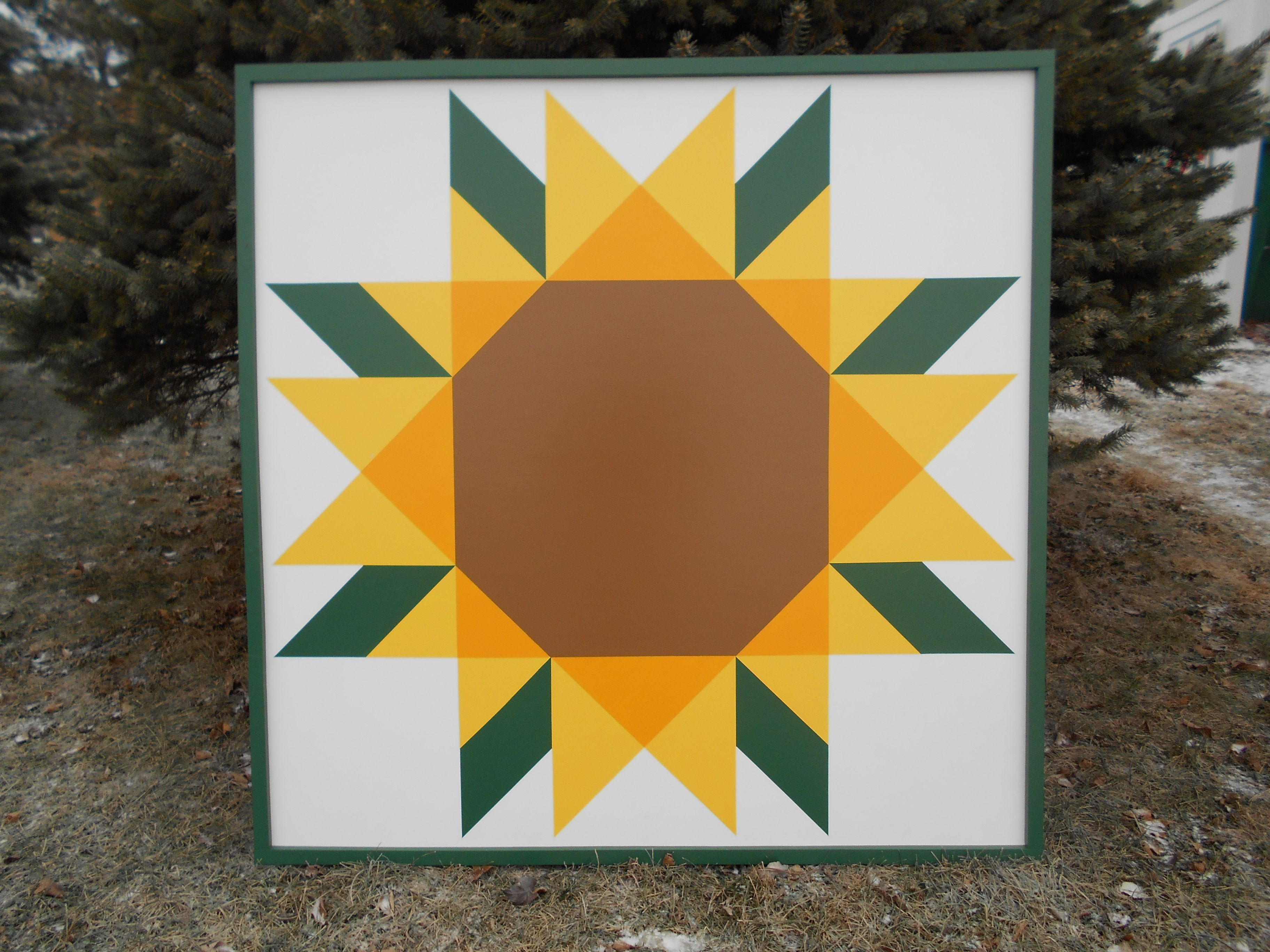 Sunflower With Green Frame 4 X4 Barn Quilt Barn Quilt