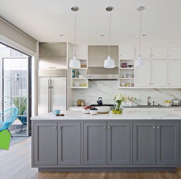Grey And White Two Tone Kitchen From Www Houzz Co Uk Gray And White Kitchen Grey Kitchen Island White Kitchen Design