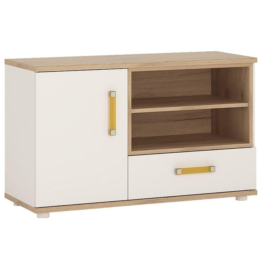 4 Kids 1 Door 1 Drawer Tv Hi Fi Cabinet In Light Oak White  # Giellesse Muebles