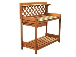 Potting Bench Outoor Garden Work Bench Station Planting Solid Wood  Construction