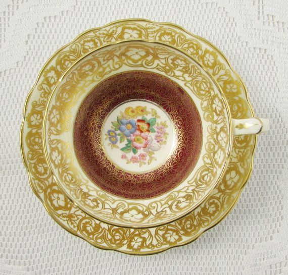 Hammersley Tea Cup and Saucer, Red with Gold Filigree and Hand Painted Floral Bouquet, Vintage Bone China