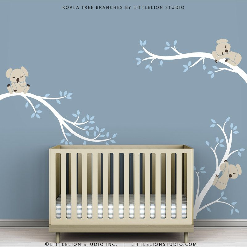 Baby Wall Decals For Nursery Decor White Tree Blue Leaves Wall