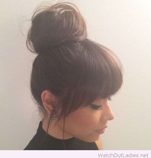 Top Bun And Bangs Hair Cuts For Long With Hairstyles