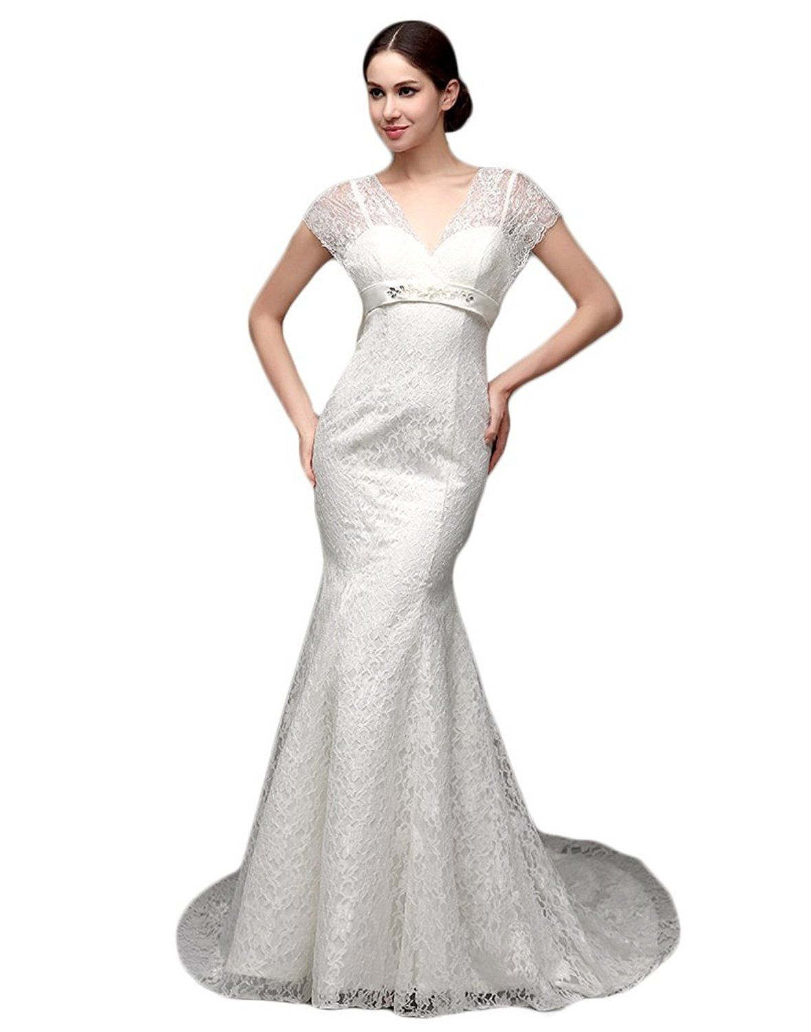Nitree elegant mermaid wedding dress big bow beads short