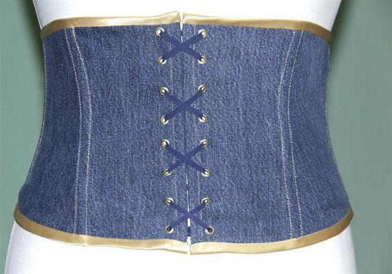 Blue light denim corset girdle size 12/14 (US) corsage   Pinterest ...